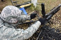 A security forces technician assigned to the 180th Fighter Wing, Ohio Air National Guard, conducts live-fire training using the M-240B, a belt-felt, gas-operated machine gun that shoots 7.62mm rounds, April 18, 2018. (Air National Guard photo/John Wilkes)