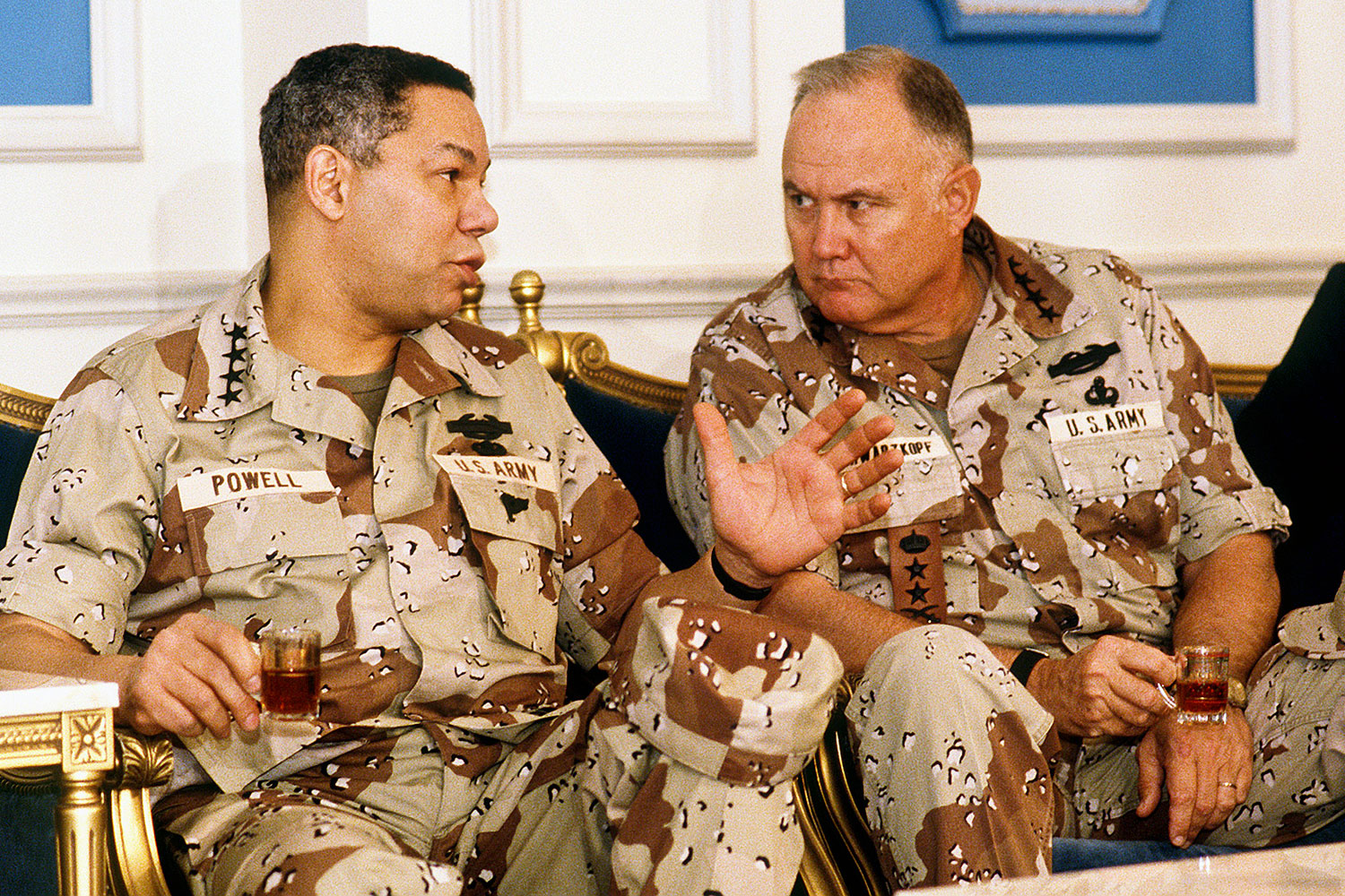 Starting in 1989, Gen. Colin Powell, left, served as the first black chairman of the Joint Chiefs of Staff. In 2001 he made history again as the first black U.S. Secretary of State. (DoD photo)