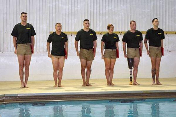 amputee conquers marine swim course  semi