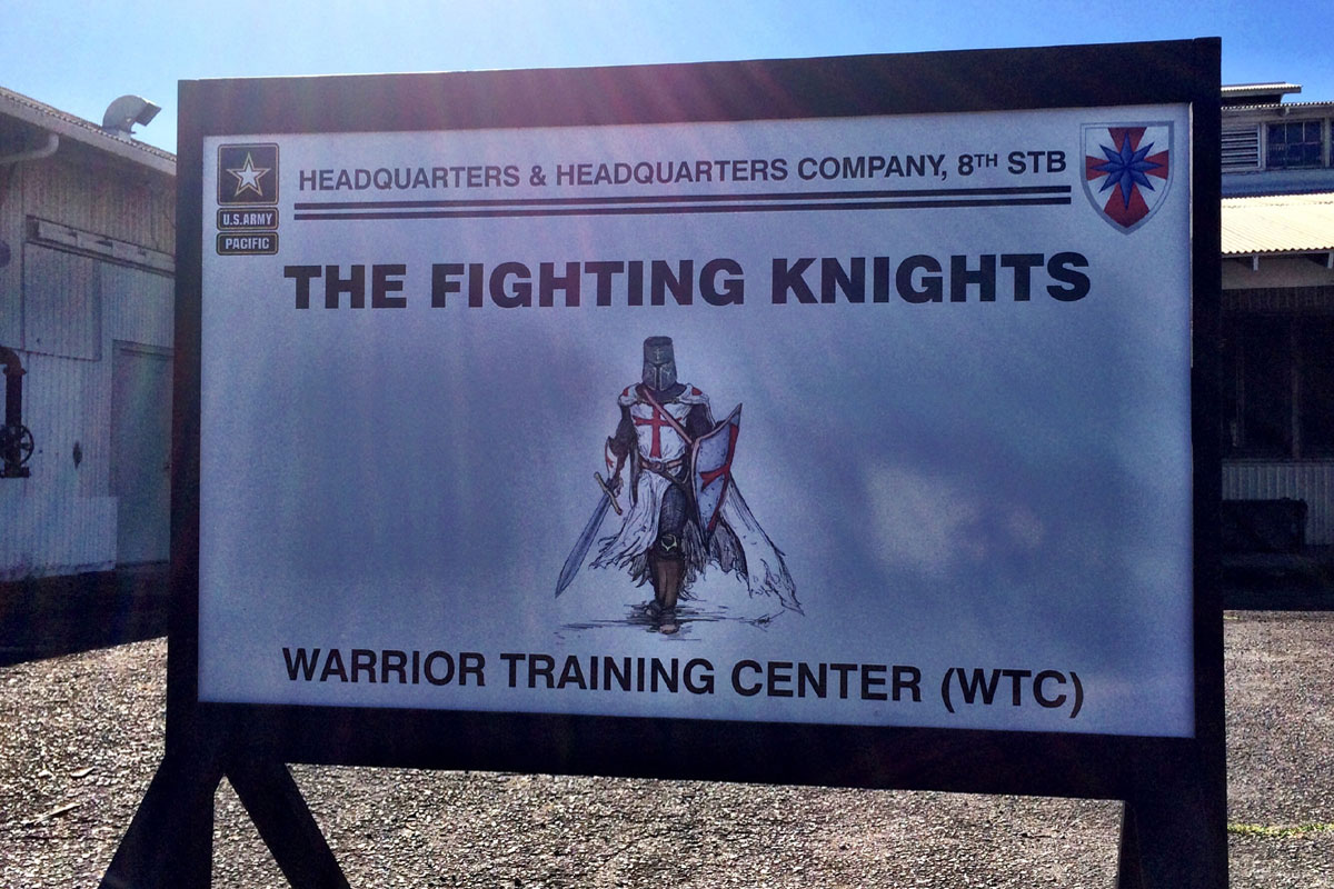 crusader knight sign taken down at hawaii army base
