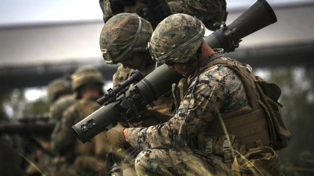 U.S. Marines reload the Carl Gustav rocket system during live fire training at Range 7 aboard Camp Hansen, Oct. 25, 2017. (U.S. Marine Corps photo/Aaron S. Patterson)