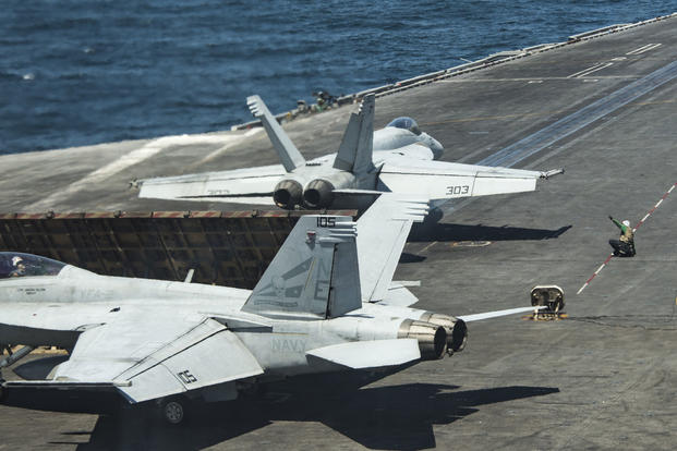 An F/A-18E Super Hornet prepares to take off from the Nimitz-class aircraft carrier USS Carl Vinson during flight operations in the western Pacific Ocean, May 1, 2017. (U.S. Navy photo/Mass Communication Specialist 3rd Class Matt Brown)