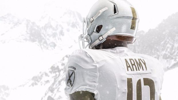Army's sideline will be a white out this Saturday in Philadelphia during the 118th Army-Navy Game as Nike released the football team's specially designed uniforms honoring the 10th Mountain Division. (U.S. Army photos)