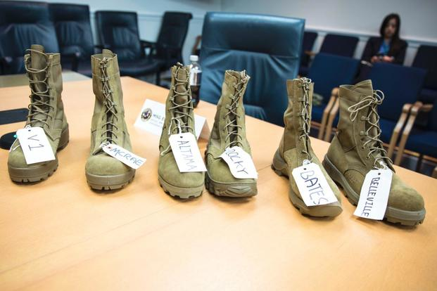 Officials plan to test five designs of the Jungle Combat Boot Version 2. The designs, by Altama, Bates, Bellville, Mcrae, and Rocky, sit beside the original Jungle Combat Boot, left. (Image: PEO Soldier)