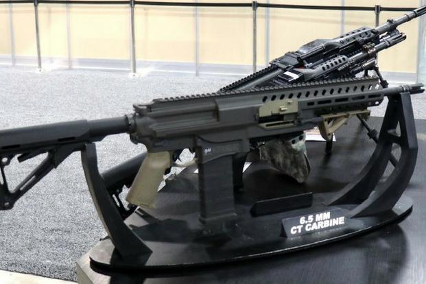 Textron Systems Intermediate Case-Telescoped Carbine, chambered for 6.5mm on display at AUSA 2018. (Matt Cox/Military.com)