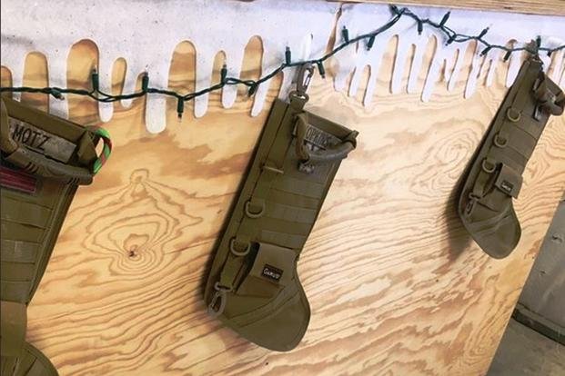 Spotted in Helmand province, Afghanistan, in late December 2017: tactical Christmas stockings. (Photo by Hope Hodge Seck/Military.com)