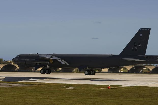 A U.S. Air Force B-52 Stratofortress bomber lands at Andersen Air Force Base, Guam,Jan. 16, 2018. (U.S. Air Force photo/Tech. Sgt. Richard P. Ebensberger)
