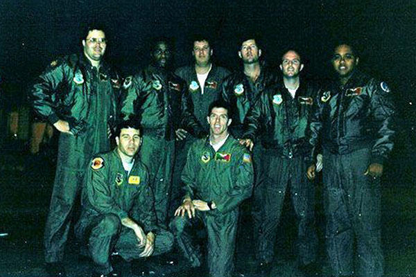 U.S. Air Force aircrew members gather for a photo at Barksdale Air Force Base, Louisiana, before the mission that fired the opening shots of Desert Storm. (Defense Department)