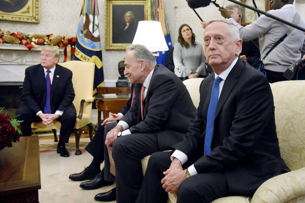 Defense Secretary Jim Mattis attends a meeting between President Trump and congressional leadership including Sen. Chuck Schumer at the White House on Dec. 7.
