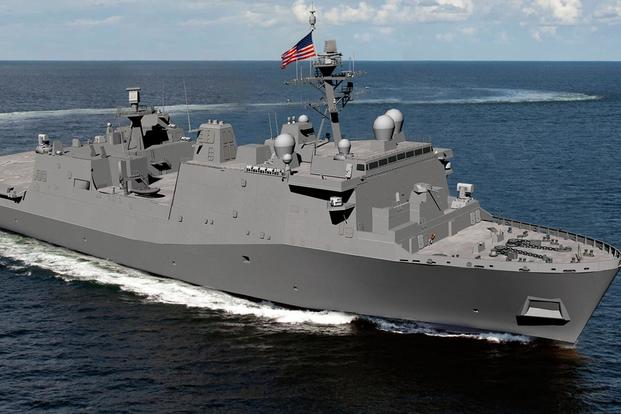 Artist rendering of the LX(R) Future Amphibious Ship (Image: Huntington Ingalls Industry)
