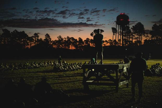 FILE -- New recruits are given a brief before they start the crunch portion of the initial strength test, Parris Island, South Carolina, December 1, 2017. (Photo by Lance Cpl. Carlin Warren)