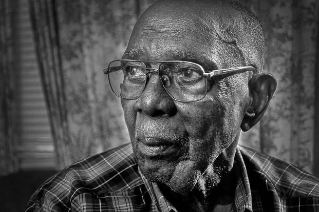 Richard Bell Jr., a 99-year-old resident of Blackstone, was presented with several awards and medals including the European-African-Middle Eastern Campaign Medal and Bronze Star attachment (double). (U.S. Army/Terrance Bell)