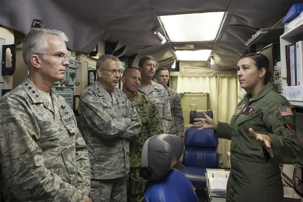 In a file photo, Gen. Paul J. Selva, vice chairman of the Joint Chiefs of Staff, listens as Air Force 1st Lt. Chelsea Ragland, 320th Missile Squadron, briefs him on the operational aspect of the ICBM mission at Missile Alert Facility I-01 in Nebraska, Aug. 14 2015. (U.S. Air Force/Lan Kim)