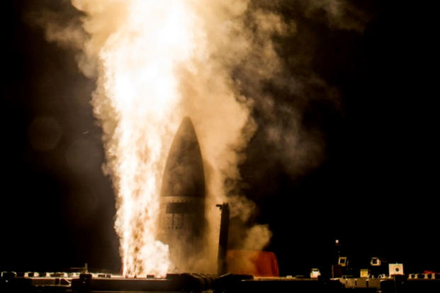 A missile is launched from Kauai's Aegis Ashore facility in February 2017. (US Missile Defense Agency photo)
