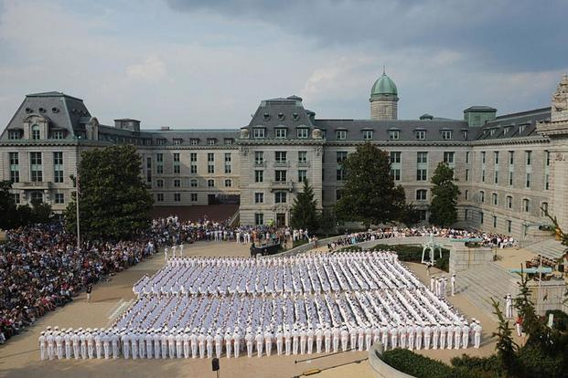 The Naval Academy's Brigade of Midshipmen. Navy photo
