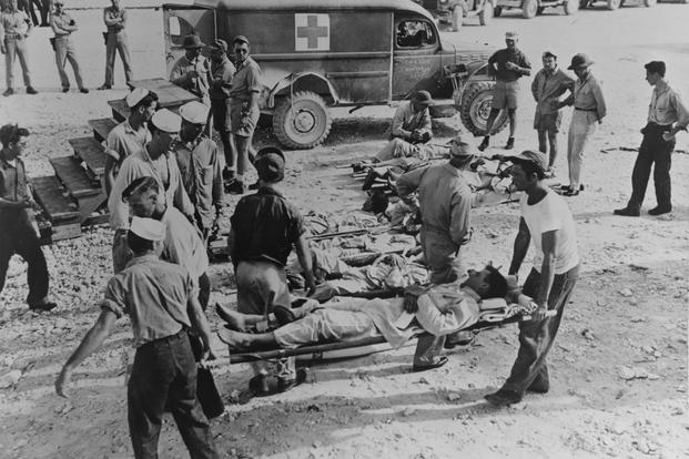 Indianapolis survivors en route to a hospital following their rescue, circa early August 1945 (U.S. Navy/National Archives)