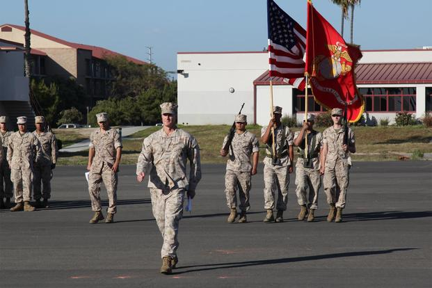 FILE -- Lt. Col. Adam Collier, Commander of Troops, forms the company for the 3D Air Naval Gunfire Liaison Company Change of Command, Marine Corps Base Camp Pendleton, CA. April 2, 2016. (Photo credit: David Biber -- ESGR)