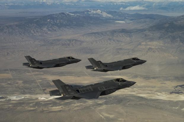 Three U.S. Air Force F-35A Lightning IIs, assigned to the 4th Fighter Squadron from Hill Air Force Base, Utah, conduct flight training operations over the Utah Test and Training Range on Feb 14, 2018. (U.S. Air Force/Staff Sgt. Andrew Lee)