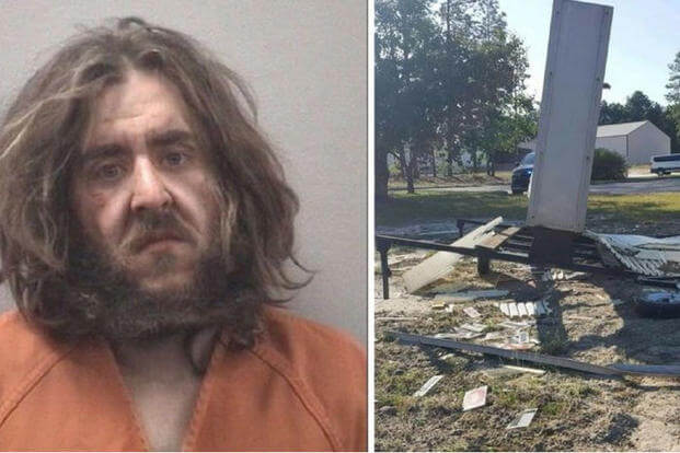 "Marion Samuel Corba, the self-proclaimed ""Messenger of meth,"" allegedly wrecked his vehicle on the grounds of the South Carolina National Guard Armory.  (Lexington County Detention Center/Springdale Police Department)"