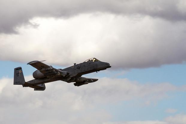 A-10C Thunderbolt II from Nellis Air Force Base, Nev., conducts dry fire training during exercise Hustler Trough II, at Fort Bliss, Texas, Nov. 4, 2015. (U.S. Army/Sgt. Maricris McLane)