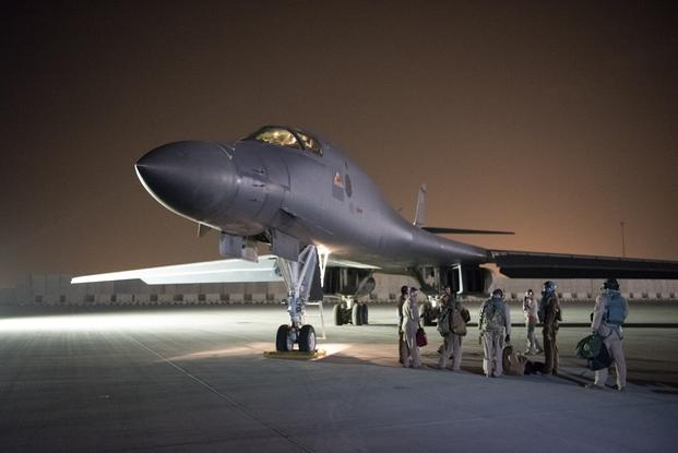 A 34th Expeditionary Bomb Squadron B-1B  Lancer aircraft assigned to the 379th Air Expeditionary Wing prepares to  depart from Al Udeid Air Base, Qatar, in support of the multinational response  to Syria's chemical weapons use.  The B-1B was used as part of a strike on  Syria as part of the U.S. response to Syria's use of chemical weapons. (Phil Speck/Air Force)