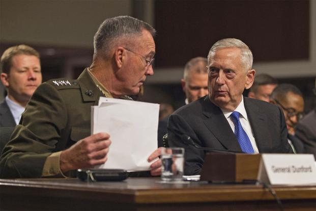 Defense Secretary James N. Mattis and Marine Corps Gen. Joseph F. Dunford Jr., chairman of the Joint Chiefs of Staff, provide testimony on the Fiscal Year 2018 Defense Budget Request to members of the Senate Armed Services Committee in Washington D.C., June 13, 2017. (DoD/Army Sgt. Amber I. Smith)