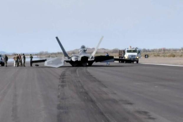 Photos of the accident on social media showed a potential engine flameout, which caused the F-22 Raptor to skid. (Photo courtesy of Air Force amn/nco/snco Facebook page)
