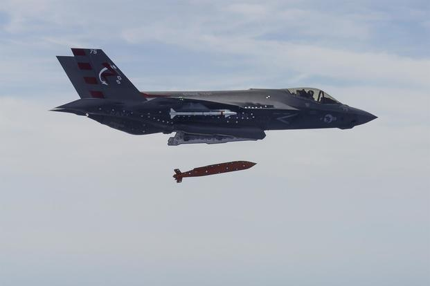 Navy's F-35C Joint Strike Fighter test fires a JSOW-C precision air-to-ground weapon. (Image: Raytheon)