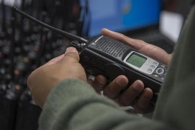 A technician inspects a land mobile radio on Joint Base Andrews, Md., Jan. 11, 2017. (U.S. Air Force/Airman 1st Class Valentina Lopez)