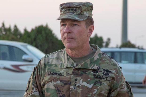U.S. Army Gen. James C. McConville, 36th Vice Chief Staff of the Army, visits Erbil, Iraq, in October 15, 2017. (U.S. Army photo by Sgt. Tracy McKithern)