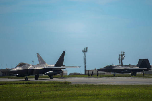 U.S. Air Force F-22 Raptors assigned to 525th Fighter Squadron from Joint Base Elmendorf-Richardson taxis at Kadena Air Base, Japan, May 29, 2018. (U.S. Air Force photo/Matthew B. Fredericks)
