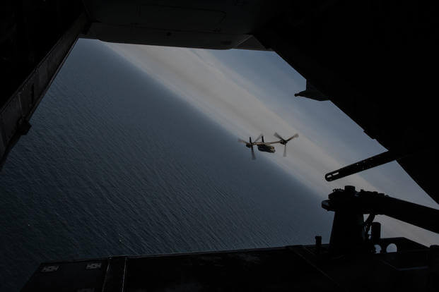 A CV-22 Osprey with the 8th Special Operations Squadron flies over the Gulf of Mexico during a training mission in support of Secretary of the Air Force Heather Wilson's visit to Air Force Special Operations Command at Hurlburt Field, May 3, 2018. (U.S. Air Force photo/Ryan Conroy)