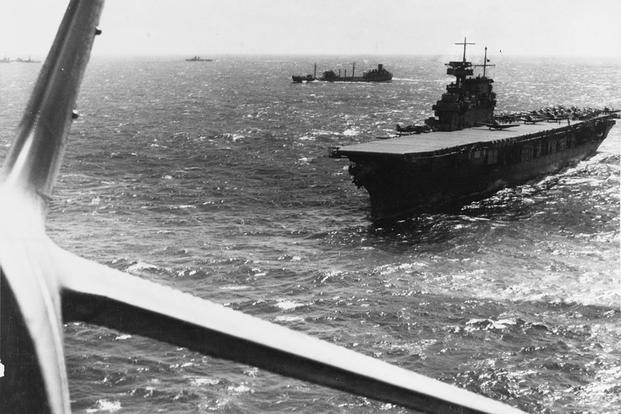 The U.S. Navy aircraft carrier USS Yorktown (CV-5) operating in the Pacific in February 1942 (U.S. Navy)