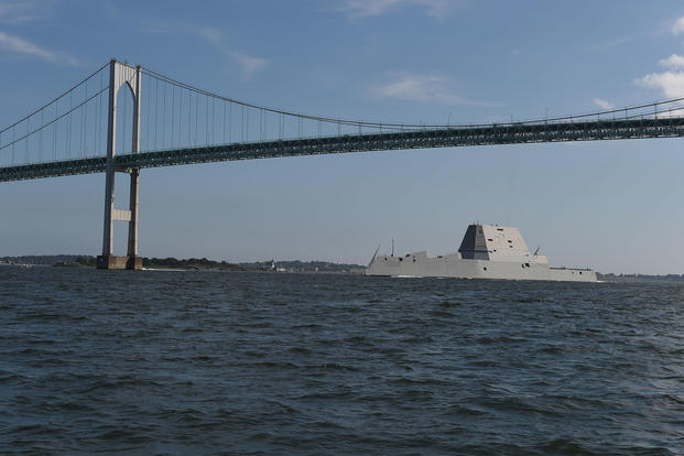 The guided-missile destroyer Pre-Commissioning Unit (PCU) Zumwalt (DDG 1000) arrives at Naval Station Newport, Rhode Island, Sept. 8, 2016. (U.S. Navy photo/Jess Lewis)