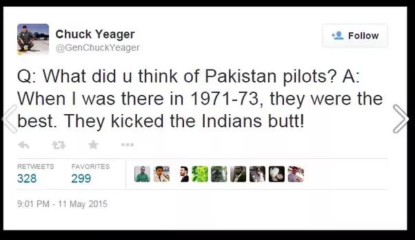 Chuck Yeager Tweet about Pakistan pilots