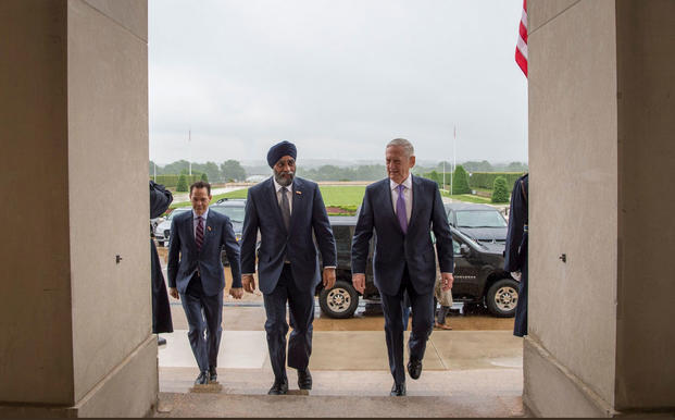 Canadian Defence Minister Harjit Sajjan meets with Defense Secretary Jim Mattis (U.S. Department of Defense)