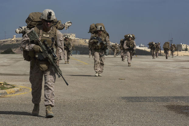 U.S. Marines with the 2nd Battalion, 7th Marine Regiment take part in a long-range quick reaction force exercise in February, at the King Abdullah II Special Operations Training Center in Amman, Jordan. (US Marine Corps photo/Bryan McDonnell)