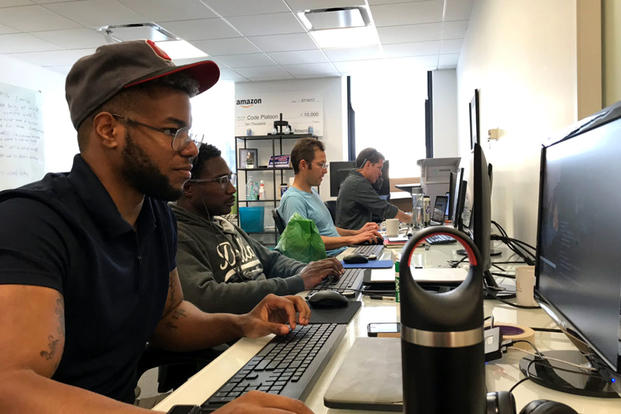 "Code Platoon, a tax-exempt nonprofit organization that is authorized for attendance with the GI Bill, calls itself a ""full-stack coding bootcamp"" that can be attended at its classroom in Chicago's Loop or remotely. (Photo courtesy of Code Platoon)"