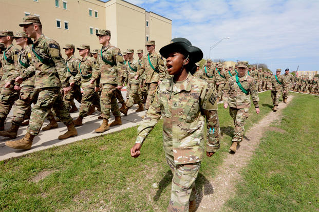 An Army drill instructor marches with soldiers at Joint Base San Antonio-Fort Sam Houston, Texas, where Specialist Yea Ji Sea is assigned. Her application for U.S. citizenship has been pending for more than two years. (US Army photo/Jose Rodriguez)