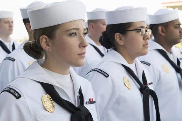 Sailors at Naval Support Facility Deveselu, Romania, stand in formation for a dress white uniform inspection May 1, 2018 (U.S. Navy/Mass Communication Specialist 1st Class Jeremy Starr)