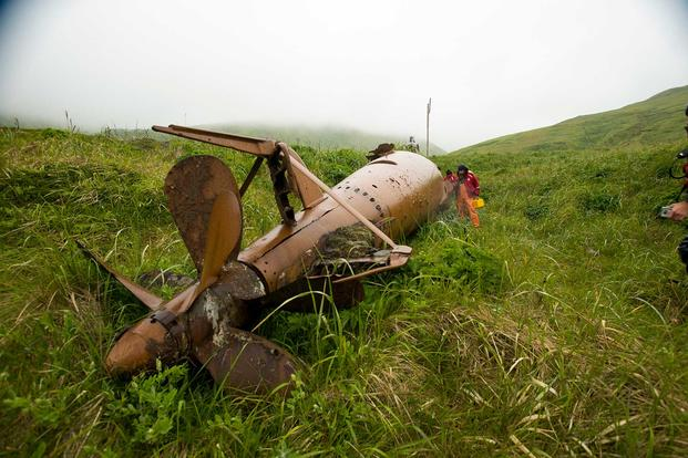 A WWII-era Japanese mini submarine that remains in the historic sub pens on Kiska Island. (Image courtesy of Kiska: Alaska's Underwater Battlefield expedition)
