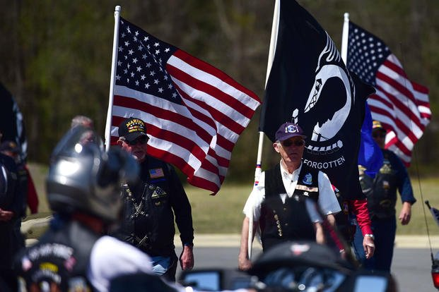 Patriot Guard Riders of North Carolina attend a funeral ceremony.