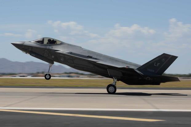 A U.S. Air Force F-35A Lightning II lands at Luke Air Force Base, Ariz., on July 25, 2018. The mission at the 56th Fighter Wing is to train the world's greatest fighter pilots and combat ready Airmen. (U.S. Air Force photo by Staff Sgt. Franklin R. Ramos)
