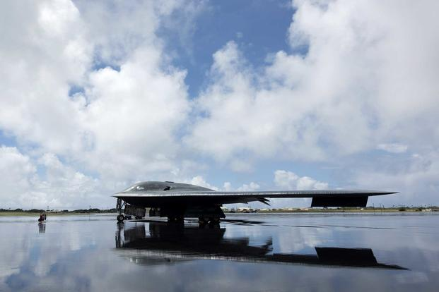 A B-2 Spirit deployed from Whiteman Air Force Base, Mo., to Joint Base Pearl Harbor-Hickam, Hawaii, in support of the U.S. Strategic Command's Bomber Task Force deployment is parked on the flight line Sept. 26, 2018. (U.S. Air Force photo by Staff Sgt. Danielle Quilla)