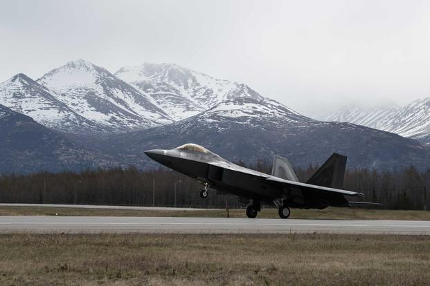 An F-22 Raptor takes flight at Joint Base Elmendorf-Richardson, Alaska, on May 10, 2018. (U.S. Air Force photo by Senior Airman Curt Beach)