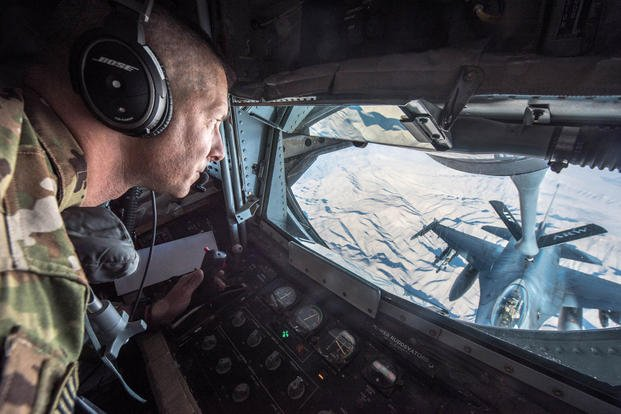 U.S. Air Force Tech. Sgt. Daryl Gladstein, a boom operator assigned to the 340th Expeditionary Air Refueling Squadron, refuels an F-16 Fighting Falcon over the skies of Afghanistan on Jan. 17, 2018. (U.S. Air National Guard photo/Phil Speck)