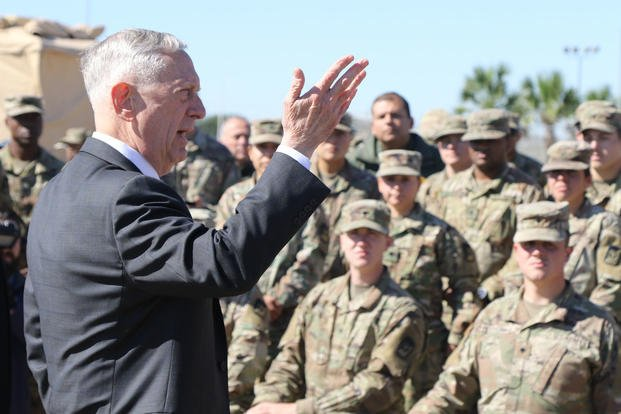 James Mattis, U.S. Secretary of Defense, speaks with troops from the 56th Multifunctional Medical Battalion, 62nd Medical Brigade on Nov. 14, 2018 at Base Camp Donna, Texas. Mattis answered questions from soldiers at the base camp in support of the Southwest border mission. (U.S. Army photo/Jacob Caldwell)