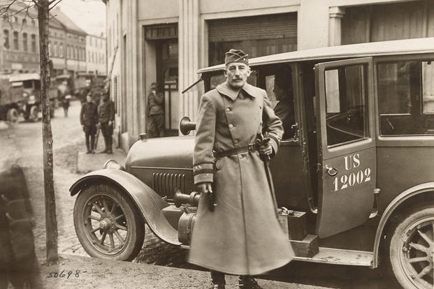 Army Maj. Gen. Clement Alexander Finley Flagler, commander of the 42nd Division, arrives at the command post of the 167th Infantry Regiment in Sinzig, Germany, during the division's march to the Rhine for occupation duties, Dec. 18, 1918. (U.S. Army Signal Corps photo)