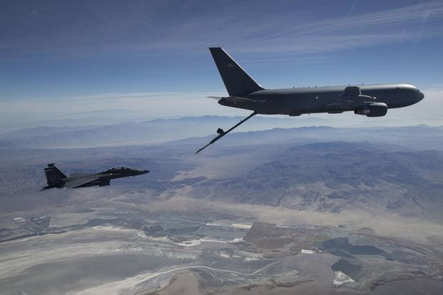 A KC-46A Pegasus aerial refueling aircraft connects with an F-15 Strike Eagle test aircraft from Eglin Air Force Base, Florida, on Oct. 29th, 2018. (U.S. Air Force/Master Sgt Michael Jackson).