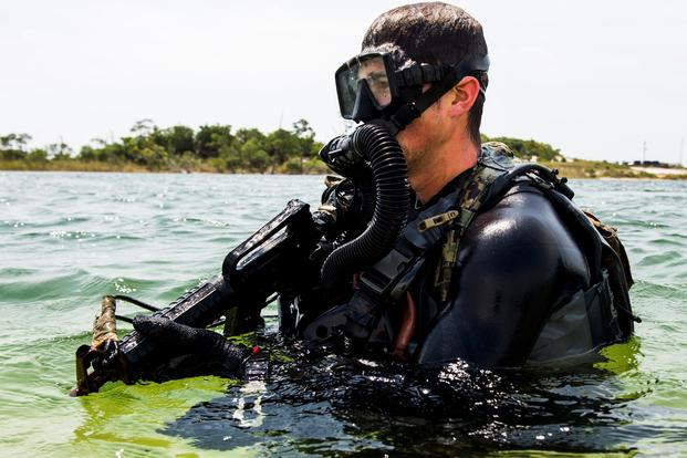 A SEAL team member conducts proof of concept and operational testing and evaluation of tactics, techniques and procedures development during exercise TRIDENT 17 on Hurlburt Field, Fla. (U.S. Air Force/Tech. Sgt. Gregory Brook)